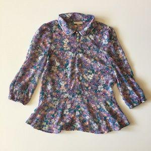 ModCloth Purple Floral Peplum Sheer Top Size S